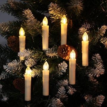 30er LED Kerzen mit Batterien Halter Fernbedienung Timer IP64 Dimmbar warmweiß Weihnachtskerzen Lichterkette Fenster Beleuchtung für Weihnachtsbaum Hochzeit Geburtstags Kirche Deko, beige - 5