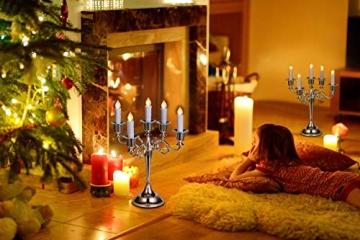 30er LED Kerzen mit Batterien Halter Fernbedienung Timer IP64 Dimmbar warmweiß Weihnachtskerzen Lichterkette Fenster Beleuchtung für Weihnachtsbaum Hochzeit Geburtstags Kirche Deko, beige - 7