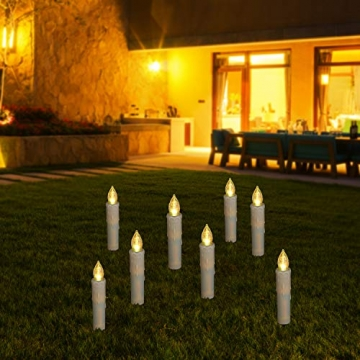 30er LED Kerzen mit Batterien Halter Fernbedienung Timer IP64 Dimmbar warmweiß Weihnachtskerzen Lichterkette Fenster Beleuchtung für Weihnachtsbaum Hochzeit Geburtstags Kirche Deko, beige - 8