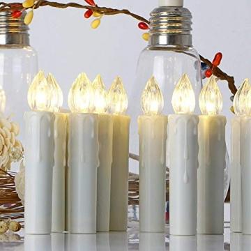 30er LED Kerzen Timer mit Fernbedienung, Weihnachtskerzen, IP64 Dimmbar Kerzenlichter Flammenlose Weihnachtskerzen für Weihnachtsbaum, Weihnachtsdeko, Hochzeit, Geburtstags, Party - 3