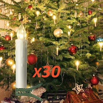 30er LED Kerzen Timer mit Fernbedienung, Weihnachtskerzen, IP64 Dimmbar Kerzenlichter Flammenlose Weihnachtskerzen für Weihnachtsbaum, Weihnachtsdeko, Hochzeit, Geburtstags, Party - 1