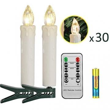 30er LED Kerzen Timer mit Fernbedienung, Weihnachtskerzen, IP64 Dimmbar Kerzenlichter Flammenlose Weihnachtskerzen für Weihnachtsbaum, Weihnachtsdeko, Hochzeit, Geburtstags, Party - 2