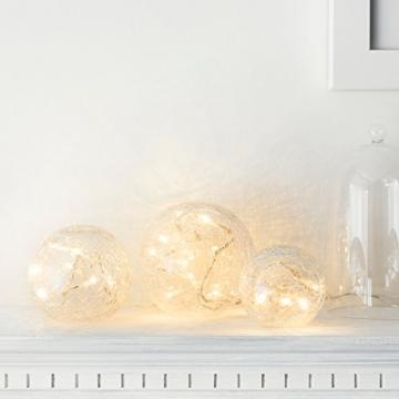 3er Set LED Glaskugeln warmweiß batteriebetrieben - 3