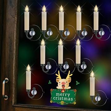 40/30/20/10x Set LED Kerzen Weihnachtskerzen RGB&Warmweiß mit Batterien Timer IP64 Wasserdicht inkl. Klammer Saugnapf Steckdrne für Auß-Innen (Beige 20x) - 3