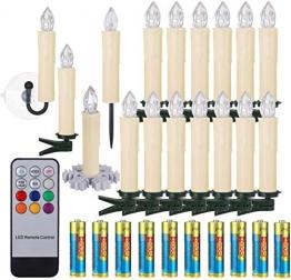 40/30/20/10x Set LED Kerzen Weihnachtskerzen RGB&Warmweiß mit Batterien Timer IP64 Wasserdicht inkl. Klammer Saugnapf Steckdrne für Auß-Innen (Beige 20x) - 1