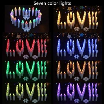40/30/20/10x Set LED Kerzen Weihnachtskerzen RGB&Warmweiß mit Batterien Timer IP64 Wasserdicht inkl. Klammer Saugnapf Steckdrne für Auß-Innen (Beige 20x) - 4