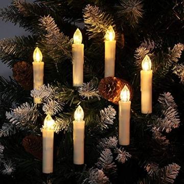 40/30/20/10x Set LED Kerzen Weihnachtskerzen RGB&Warmweiß mit Batterien Timer IP64 Wasserdicht inkl. Klammer Saugnapf Steckdrne für Auß-Innen (Beige 20x) - 5