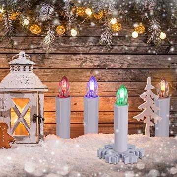 40/30/20/10x Set LED Kerzen Weihnachtskerzen RGB&Warmweiß mit Batterien Timer IP64 Wasserdicht inkl. Klammer Saugnapf Steckdrne für Auß-Innen (Beige 20x) - 6