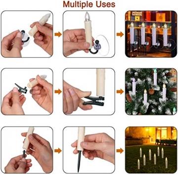 40/30/20/10x Set LED Kerzen Weihnachtskerzen RGB&Warmweiß mit Batterien Timer IP64 Wasserdicht inkl. Klammer Saugnapf Steckdrne für Auß-Innen (Beige 20x) - 7