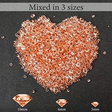 4000 Stücke Bling Diamant Acryl Edelstein Tisch Streuen Kristalle 3 mm, 6 mm, 10 mm Tisch Dekoration für Vase Füller Weihnachten Hochzeit Geburtstag Party (Rosa Gold) - 2
