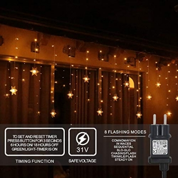 94 LED Schneeflocke Lichterketten, Lichtervorhang Lichter Weihnachtsbeleuchtung mit 8 Flimmer-Modi und Timer für Hochzeit, Weihnachten, Geburtstagsfeiern, DIY Haus Mantel Dekoration (Warmweiß) - 2