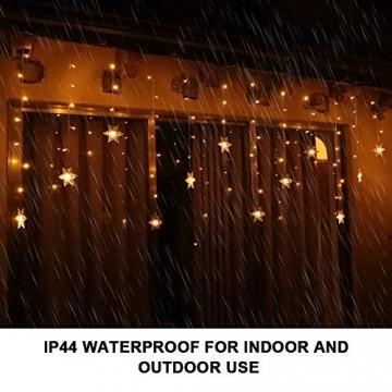 94 LED Schneeflocke Lichterketten, Lichtervorhang Lichter Weihnachtsbeleuchtung mit 8 Flimmer-Modi und Timer für Hochzeit, Weihnachten, Geburtstagsfeiern, DIY Haus Mantel Dekoration (Warmweiß) - 3