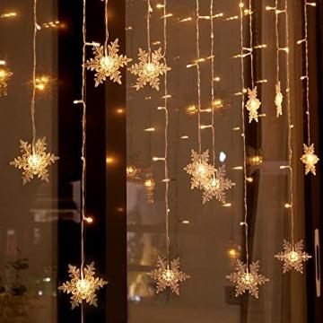 94 LED Schneeflocke Lichterketten, Lichtervorhang Lichter Weihnachtsbeleuchtung mit 8 Flimmer-Modi und Timer für Hochzeit, Weihnachten, Geburtstagsfeiern, DIY Haus Mantel Dekoration (Warmweiß) - 4