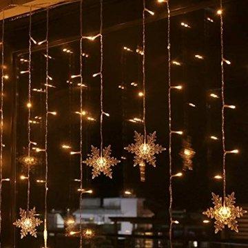 94 LED Schneeflocke Lichterketten, Lichtervorhang Lichter Weihnachtsbeleuchtung mit 8 Flimmer-Modi und Timer für Hochzeit, Weihnachten, Geburtstagsfeiern, DIY Haus Mantel Dekoration (Warmweiß) - 1