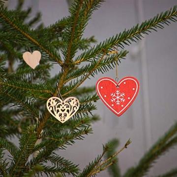 Aoliandatong 600 Stück Holzherzen Scheiben Naturholzscheiben unlackiert Holzherzen Deko für DIY für Hochzeitsdeko Tisch Weihnachten Geburtstag Taufe Valentinstag Geschenkanhänger - 6