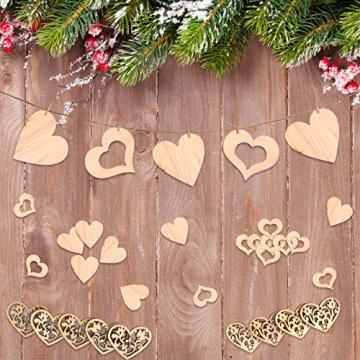 Aoliandatong 600 Stück Holzherzen Scheiben Naturholzscheiben unlackiert Holzherzen Deko für DIY für Hochzeitsdeko Tisch Weihnachten Geburtstag Taufe Valentinstag Geschenkanhänger - 7