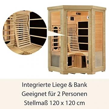 Artsauna Infrarotkabine Aalborg – Triplex-Heizsystem Infrarotsauna - 2 Personen – LED-Farblicht, digitale Steuerung – Hemlock-Holz - 6