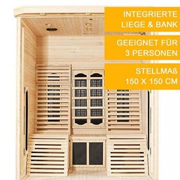 Artsauna Infrarotkabine Helsinki 150 – Infrarotsauna 3 Personen – LED-Farblicht, digitaler Steuerung, 8 Keramikstrahler, 1 Flächenstrahler – Hemlock-Holz - 5