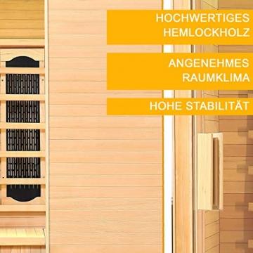 Artsauna Infrarotkabine Helsinki 150 – Infrarotsauna 3 Personen – LED-Farblicht, digitaler Steuerung, 8 Keramikstrahler, 1 Flächenstrahler – Hemlock-Holz - 6