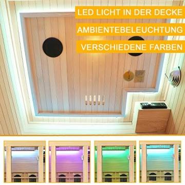 Artsauna Infrarotkabine Nyborg S120V – Vollspektrum Infrarotsauna - 2 Personen – LED-Farblicht, digitaler Steuerung – Hemlock-Holz - 4