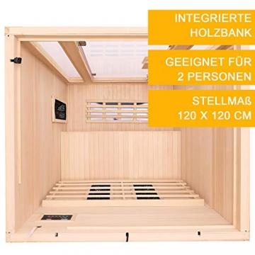 Artsauna Infrarotkabine Nyborg S120V – Vollspektrum Infrarotsauna - 2 Personen – LED-Farblicht, digitaler Steuerung – Hemlock-Holz - 5