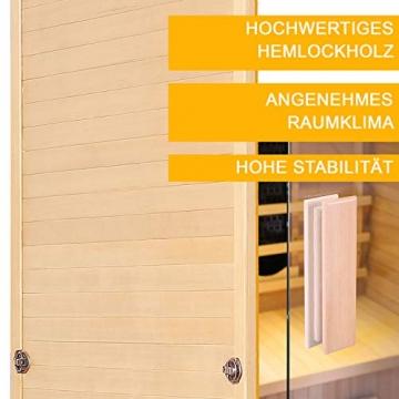 Artsauna Infrarotkabine Nyborg S120V – Vollspektrum Infrarotsauna - 2 Personen – LED-Farblicht, digitaler Steuerung – Hemlock-Holz - 6