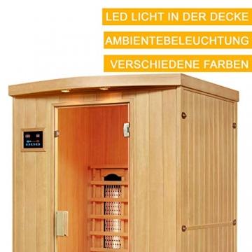 Artsauna Infrarotkabine Visby – Vollspektrum Infrarotsauna - 2 Personen – LED-Farblicht, digitaler Steuerung – Hemlock-Holz - 4