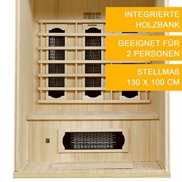 Artsauna Infrarotkabine Visby – Vollspektrum Infrarotsauna - 2 Personen – LED-Farblicht, digitaler Steuerung – Hemlock-Holz - 5