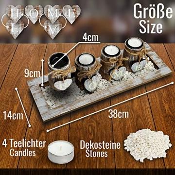 Bella O'Blue Kerzenständer für Teelichter I Teelichthalter Tischdeko I 4 Kerzenhalter in Dekoschale mit Deko Herz, Dekosteine weiß I Home + Love - 2