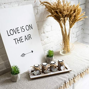 Bella O'Blue Kerzenständer für Teelichter I Teelichthalter Tischdeko I 4 Kerzenhalter in Dekoschale mit Deko Herz, Dekosteine weiß I Home + Love - 4