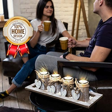 Bella O'Blue Kerzenständer für Teelichter I Teelichthalter Tischdeko I 4 Kerzenhalter in Dekoschale mit Deko Herz, Dekosteine weiß I Home + Love - 7