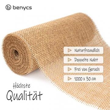 benycs Jute Tischläufer Rolle für Tisch- und Hochzeitsdeko, Tischband aus 100% Natur Leinen-Jutestoff, 30cmx10m - 2