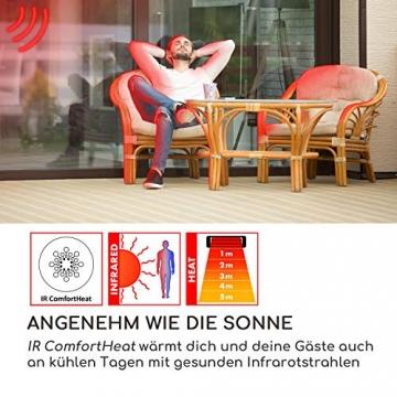 blumfeldt Rising Sun Zenith Infrarotheizung - Terrassenheizstrahler, 850, 1650 und 2500 Watt, IP34, Abschalttimer, LED-Anzeige, Decken- oder Wandmontage, inkl. Fernbedienung, schwarz-Silber - 3