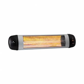 blumfeldt Rising Sun Zenith Infrarotheizung - Terrassenheizstrahler, 850, 1650 und 2500 Watt, IP34, Abschalttimer, LED-Anzeige, Decken- oder Wandmontage, inkl. Fernbedienung, schwarz-Silber - 1