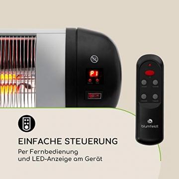 blumfeldt Rising Sun Zenith Infrarotheizung - Terrassenheizstrahler, 850, 1650 und 2500 Watt, IP34, Abschalttimer, LED-Anzeige, Decken- oder Wandmontage, inkl. Fernbedienung, schwarz-Silber - 6