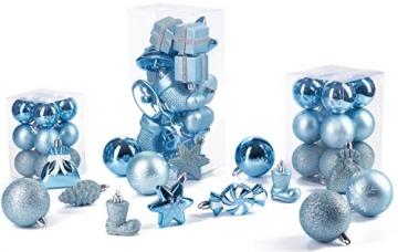 Brubaker 77-teiliges Set Weihnachtskugeln Christbaumschmuck - Kunststoff Hellblau/Silber - 6
