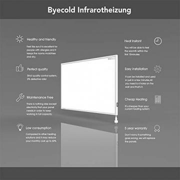 Byecold Infrarotheizung mit Schalter 900W Elektrische Wandheizung Infrarot Heizplatte Heizung Energiesparend Wandmontage Überhitzungsschutz Carbon Crystal mit RoHS CE GS - 3