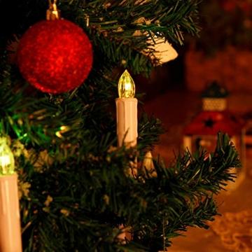 CCLIFE TÜV GS LED Weihnachtskerzen Kabellos RGB Kerzen Bunt Weihnachtsbaumkerzen Christbaumkerzen mit Fernbedienung Timer Kerzenlichter(Beige, 40er) - 2