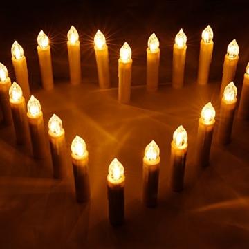 CCLIFE TÜV GS LED Weihnachtskerzen Kabellos RGB Kerzen Bunt Weihnachtsbaumkerzen Christbaumkerzen mit Fernbedienung Timer Kerzenlichter(Beige, 40er) - 4