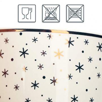 com-four® 4x Kaffeebecher aus Porzellan - Kaffee-Tasse für Weihnachten - Kaffeepott für Kalt- und Heißgetränke - 360 ml (04 Stück - weiß goldfarben) - 2