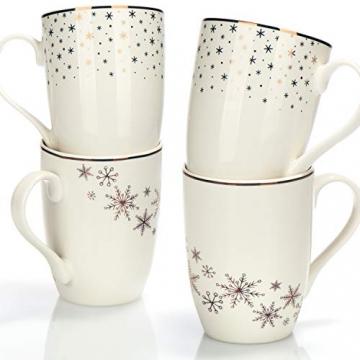 com-four® 4x Kaffeebecher aus Porzellan - Kaffee-Tasse für Weihnachten - Kaffeepott für Kalt- und Heißgetränke - 360 ml (04 Stück - weiß goldfarben) - 3