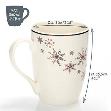 com-four® 4x Kaffeebecher aus Porzellan - Kaffee-Tasse für Weihnachten - Kaffeepott für Kalt- und Heißgetränke - 360 ml (04 Stück - weiß goldfarben) - 4