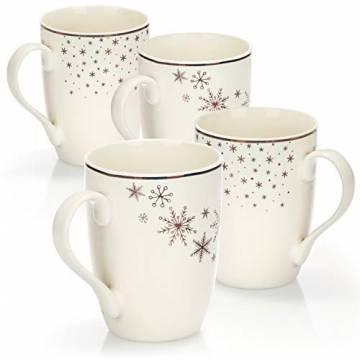 com-four® 4x Kaffeebecher aus Porzellan - Kaffee-Tasse für Weihnachten - Kaffeepott für Kalt- und Heißgetränke - 360 ml (04 Stück - weiß goldfarben) - 1
