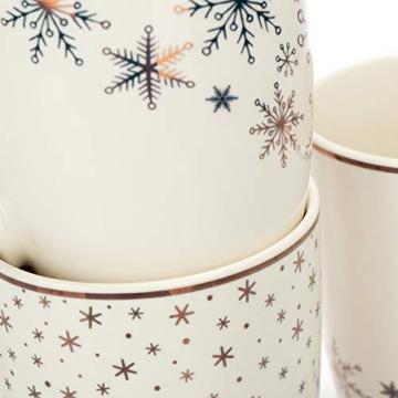com-four® 4x Kaffeebecher aus Porzellan - Kaffee-Tasse für Weihnachten - Kaffeepott für Kalt- und Heißgetränke - 360 ml (04 Stück - weiß goldfarben) - 6