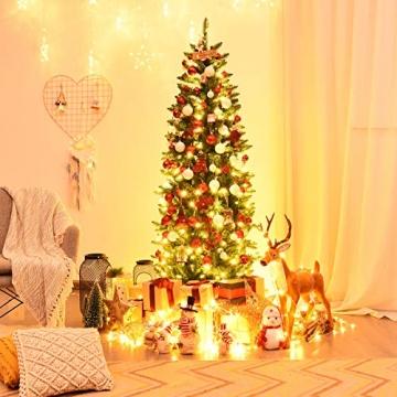 COSTWAY 150/180/210cm Bleistift Weihnachtsbaum mit warmweißen LED-Leuchten, künstlicher Tannenbaum mit Klappsystem und Metallständer, Christbaum PVC Nadeln, Kunstbaum Weihnachten Grün(180cm) - 2