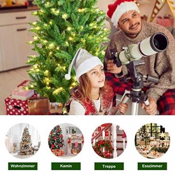 COSTWAY 150/180/210cm Bleistift Weihnachtsbaum mit warmweißen LED-Leuchten, künstlicher Tannenbaum mit Klappsystem und Metallständer, Christbaum PVC Nadeln, Kunstbaum Weihnachten Grün(180cm) - 3
