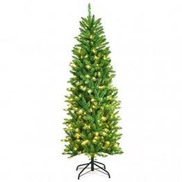 COSTWAY 150/180/210cm Bleistift Weihnachtsbaum mit warmweißen LED-Leuchten, künstlicher Tannenbaum mit Klappsystem und Metallständer, Christbaum PVC Nadeln, Kunstbaum Weihnachten Grün(180cm) - 1