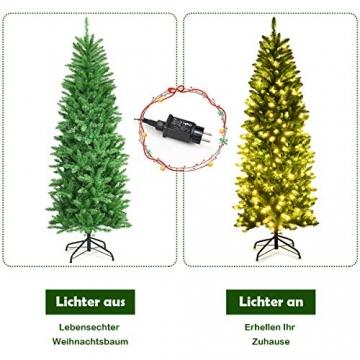 COSTWAY 150/180/210cm Bleistift Weihnachtsbaum mit warmweißen LED-Leuchten, künstlicher Tannenbaum mit Klappsystem und Metallständer, Christbaum PVC Nadeln, Kunstbaum Weihnachten Grün(180cm) - 4