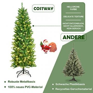 COSTWAY 150/180/210cm Bleistift Weihnachtsbaum mit warmweißen LED-Leuchten, künstlicher Tannenbaum mit Klappsystem und Metallständer, Christbaum PVC Nadeln, Kunstbaum Weihnachten Grün(180cm) - 5