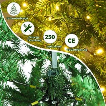 COSTWAY 150/180/210cm Bleistift Weihnachtsbaum mit warmweißen LED-Leuchten, künstlicher Tannenbaum mit Klappsystem und Metallständer, Christbaum PVC Nadeln, Kunstbaum Weihnachten Grün(180cm) - 6
